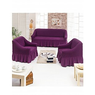 "Набор чехлов для дивана и кресел ""JUANNA"" 3+1+1, баклажан"
