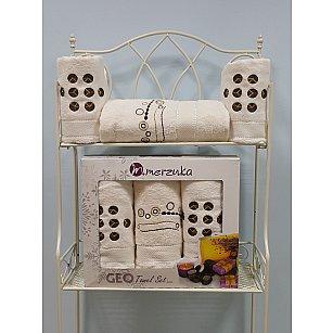 Комплект из 3-х полотенец Merzuka Geо в коробке (50*90*2; 70*140), кремовый