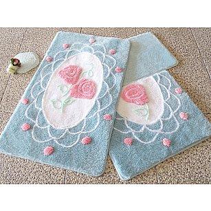 Набор ковриков для ванной DO&CO DANTEL (60*100; 40*60), голубой