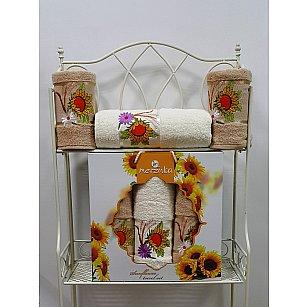Комплект из 3-х полотенец Merzuka Sunflower в коробке (50*80*2; 70*130), бежевый