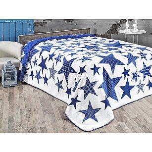 "Плед хлопок ""KARNA STARS"", голубой, 150*240 см-A"