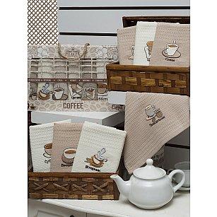 Комплект вафельных салфеток Meteor Неделька Lux Кофе, 40*60 см - 7 шт