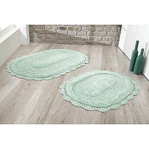 """Набор ковриков для ванной кружевной """"MODALIN LOKAL"""" (60*100; 50*70), ментол"""