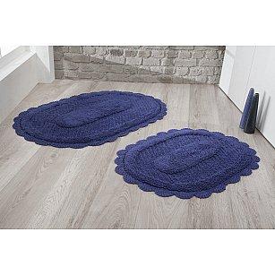 "Набор ковриков для ванной кружевной ""MODALIN LOKAL"" (60*100; 50*70), синий"