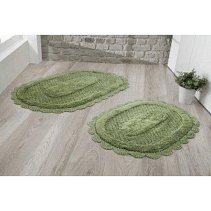 """Набор ковриков для ванной кружевной """"MODALIN LOKAL"""" (60*100; 50*70), темно-зеленый"""