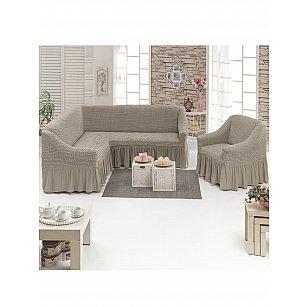 Набор чехлов для углового дивана и кресла JUANNA 3+1, какао