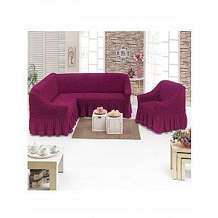 Набор чехлов для углового дивана и кресла JUANNA 3+1, баклажан