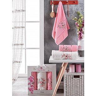 Комплект махровых полотенец Merzuka Bella (50*80*2; 70*130), розовый