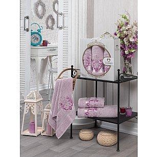 Комплект махровых полотенец TWO DOLPHINS HURREM (50*90*2; 70*140), светло-розовый