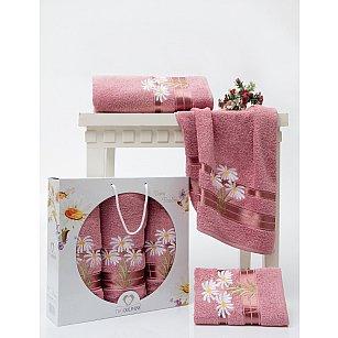 Комплект махровых полотенец TWO DOLPHINS DAISY FLOWERS (50*90*2; 70*140), брусничный