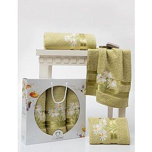 Комплект махровых полотенец TWO DOLPHINS DAISY FLOWERS (50*90*2; 70*140), зеленый