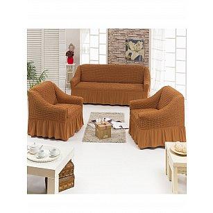 """Набор чехлов для дивана и кресел """"DO&CO"""" 3+1+1, рыже-коричневый"""