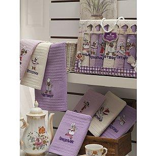Комплект вафельных салфеток METEOR НЕДЕЛЬКА BIONCE ПОВАР, лиловый, 40*60 см - 7 шт