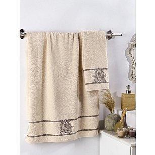 """Комплект махровых полотенец с вышивкой """"KARNA DAVIN"""" (50*90; 70*140), бежевый"""