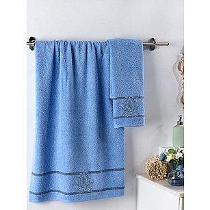 """Комплект махровых полотенец с вышивкой """"KARNA DAVIN"""" (50*90; 70*140), голубой"""
