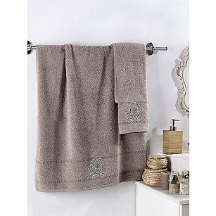"""Комплект махровых полотенец с вышивкой """"KARNA DAVIN"""" (50*90; 70*140), кофейный"""