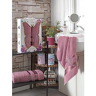 Комплект махровых полотенец с вышивкой TWO DOLPHINS BUTTERFLY (50*90; 70*140), брусничный