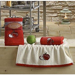 """Набор кухонных полотенец """"KARNA LEMON"""" Красный, v1, 45*65 см - 2 шт"""