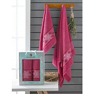 Комплект махровых полотенец Merzuka Elegant (50*90; 70*140), бордовый
