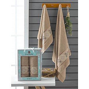 Комплект махровых полотенец Merzuka Elegant (50*90; 70*140), коричневый