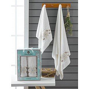Комплект махровых полотенец Merzuka Elegant (50*90; 70*140), кремовый