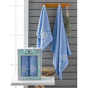 Комплект махровых полотенец Merzuka Elegant (50*90; 70*140), голубой