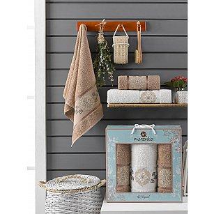 Комплект махровых полотенец Merzuka Elegant (50*90*2; 70*140), коричневый