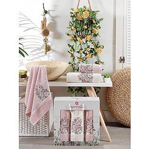 Комплект махровых полотенец MERZUKA FLORAL (50*80*2; 70*130), светло-розовый