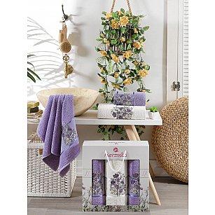 Комплект махровых полотенец MERZUKA FLORAL (50*80*2; 70*130), лиловый