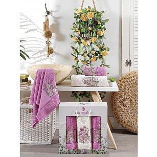 Комплект махровых полотенец MERZUKA FLORAL (50*80*2; 70*130), светло-лиловый
