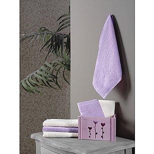 """Набор махровых салфеток в корзине """"KARNA FLORI"""", фиолетовый, 30*30 см - 6 шт"""