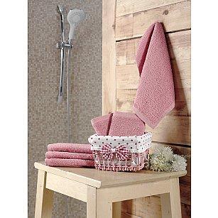 """Набор махровых салфеток в корзине """"KARNA PRUVA"""", грязно-розовый, 30*30 см - 6 шт"""