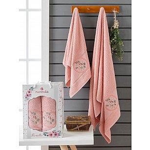 Комплект махровых полотенец Merzuka Fiorella (50*90; 70*140), персиковый
