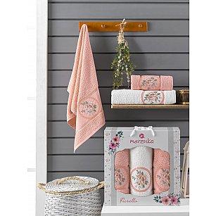 Комплект махровых полотенец Merzuka Fiorella (50*90*2; 70*140), персиковый