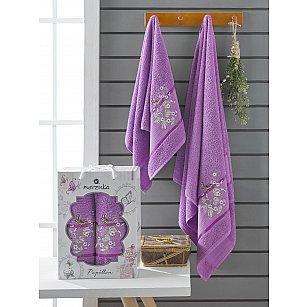 Комплект махровых полотенец Merzuka Papillon (50*90; 70*140), фиолетовый