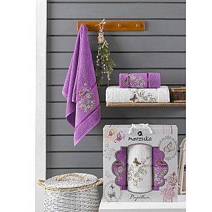 Комплект махровых полотенец Merzuka Papillon (50*90*2; 70*140), фиолетовый
