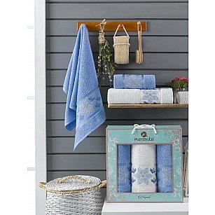 Комплект махровых полотенец Merzuka Elegant (50*90*2; 70*140), голубой