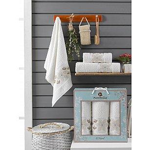 Комплект махровых полотенец Merzuka Elegant (50*90*2; 70*140), кремовый