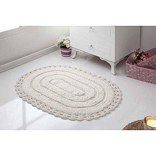 """Махровое кружевное полотенце для ног """"MODALIN YANA"""", кремовый, 50*70 см"""