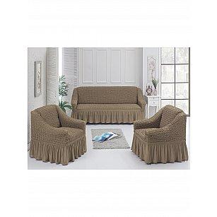 Набор чехлов для дивана и кресел JUANNA 3+1+1, светло-коричневый