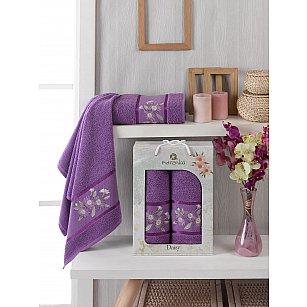 Комплект махровых полотенец Merzuka Daisy Gold (50*90; 70*140), фиолетовый