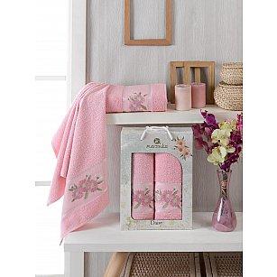 Комплект махровых полотенец Merzuka Daisy Gold (50*90; 70*140), розовый