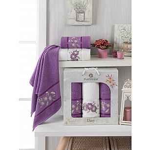 Комплект махровых полотенец Merzuka Daisy Gold (50*90*2; 70*140), фиолетовый