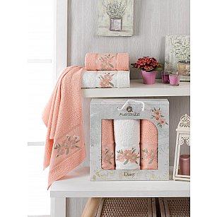 Комплект махровых полотенец Merzuka Daisy Gold (50*90*2; 70*140), оранжевый