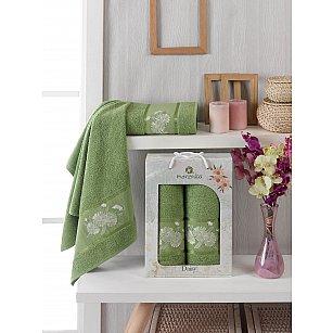 Комплект махровых полотенец Merzuka Daisy Gold (50*90; 70*140), зеленый