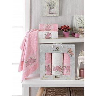 Комплект махровых полотенец Merzuka Daisy Gold (50*90*2; 70*140), розовый