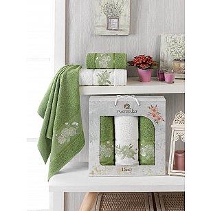 Комплект махровых полотенец Merzuka Daisy Gold (50*90*2; 70*140), зеленый