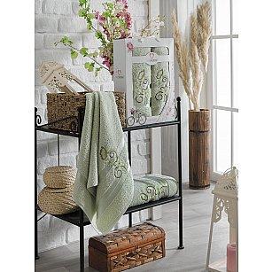 Комплект махровых полотенец TWO DOLPHINS ISABELLA (50*90; 70*140), светло-зеленый