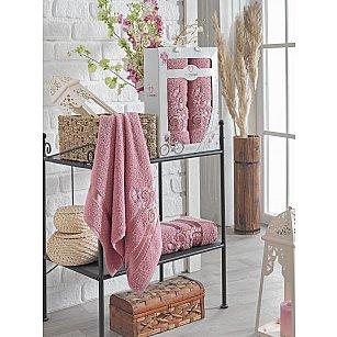 Комплект махровых полотенец TWO DOLPHINS ISABELLA (50*90; 70*140), брусничный