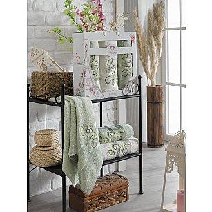 Комплект махровых полотенец TWO DOLPHINS ISABELLA (50*90*2; 70*140), светло-зеленый